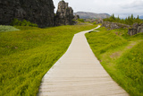 Iceland. Thingvellir. Boardwalk Throughrift in Volcanic Rock Photographic Print by Inger Hogstrom