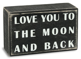 To The Moon Box Sign Znak drewniany