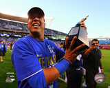 Salvador Perez celebrates winning Game 4 of the 2014 American League Championship Series Photo