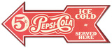 Pepsi Served Here Arrow Wood Sign