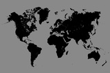 World Map - Black And Grey Posters