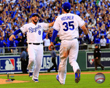 Eric Hosmer & Mike Moustakas celebrate winning Game 4 of the 2014 American League Championship Seri Photo