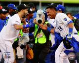 Eric Hosmer & Salvador Perez celebrate winning Game 4 of the 2014 American League Championship Seri Photo