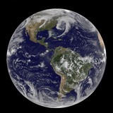 Satellite View of Full Earth Showing Low Pressure Systems Photographic Print