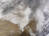 Satellite View of Snow in Northeastern China Photographic Print