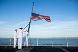 Sailors Raise the National Ensign on the Flight Deck of USS Harry S. Truman Photographic Print
