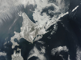 Satellite View of Hokkaido Island, Japan Photographic Print
