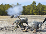 U.S Army National Guardsmen Fire a 60Mm Mortar Round Photographic Print