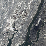 Satellite View of East Rutherford, New Jersy, and Manhattan Photographic Print