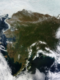 Satellite View of Alaska, United States Photographic Print