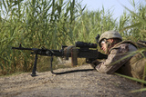 U.S. Marine Provides Security with an M240B Medium Machine Gun Photographic Print