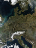 Satellite View of Central Europe Photographic Print