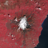 Satellite View of Mount Etna Emitting Plumes of Volcanic Gases Photographic Print