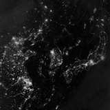 Satellite View of the Korean Peninsula Showing City Lights at Night Photographic Print