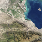 Satellite View of an Alluvial Fan in Kazakhstan's Almaty Province Photographic Print