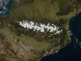 Satellite View of the Pyrenees Mountains Photographic Print