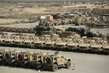 Rows of Heavy Vehicles and Supplies at Camp Warrior, Afghanistan Photographic Print