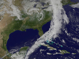 Satellite View of a Powerful Cold Front Moving Off the United States East Coast Photographic Print