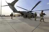 U.S. Marines and Georgian Army Soldiers Exit a Ch-53E Super Stallion Photographic Print