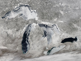 Satellite View of Ice on the Great Lakes, United States Photographic Print