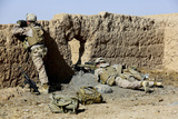 U.S. Marines Take Cover During a Patrol in Afghanistan Photographic Print