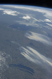 View from Space of the Wildfires Southeast of James Bay in Quebec, Canada Photographic Print