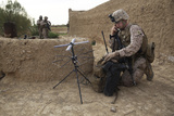 U.S. Marine Utilizes Satellite Communication During a Mission in Afghanistan Photographic Print