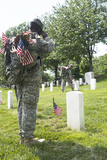 U.S. Army Soldiers Place Flags in Front of the Gravesites in Arlington National Cemetery Photographic Print