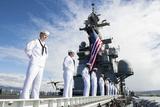 Sailors Man the Rails as Aboard USS Peleliu Photographic Print
