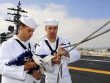 Sailors Prepare to Raise the American Flag on the Flight Deck of USS Ronald Reagan Photographic Print