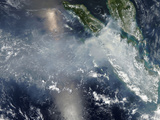 Satellite View of Smoke and Fires Burning in Sumatra Photographic Print