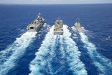 Uss Peleliu and USS Spruance Conduct a Replenishment at Sea with Usns Rainier Photographic Print