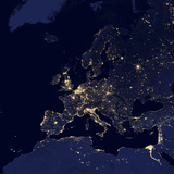 Satellite View of City Lights in Several European and Nordic Cities Fotografisk tryk