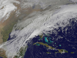 Satellite View of a Winter Snowstorm across the Mid-Atlantic United States Photographic Print