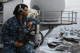 Seaman Observes Flight Operations Aboard USS Ronald Reagan Photographic Print