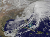 Satellite View of a Powerful Winter Storm in the United States Photographic Print
