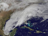 Satellite View of a Winter Storm over the United States Photographic Print