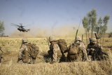 U.S. Marines Watch as Ch-53E Super Stallion Helicopters Land in a Field Photographic Print
