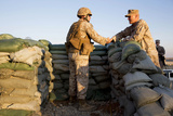 U.S. Marines Greet Each Other at Camp Bastion, Afghanistan Photographic Print