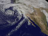 Satellite View of a Swirling Eastern Pacific Ocean Storm System Photographic Print