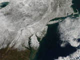 Satellite View of Snow in the Northeastern United States Photographic Print