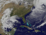 Satellite View of a Strong Coastal Storm Off the Coast of New England Photographic Print
