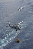 Two Mh-60S Sea Hawk Helicopters Transport Supplies Photographic Print