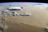 View of a Dust Storm That Stretches across the Sand Seas of the Sahara Desert Photographic Print