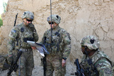 U.S. Army Soldiers Discuss the Plan of Movement for a Patrol in Afghanistan Photographic Print