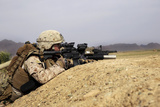 U.S. Marine Provides Security from the Berm of a Field in Afghanistan Photographic Print