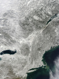 Satellite View of Snow Cover in the Northeastern United States Photographic Print