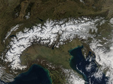 Satellite View of the Alps Photographic Print