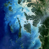 Satellite View of the Mergui Archipelago Showing Auckland and Whale Bays Photographic Print