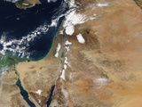 Satellite View of a Rare Winter Storm across Much of the Middle East Photographic Print